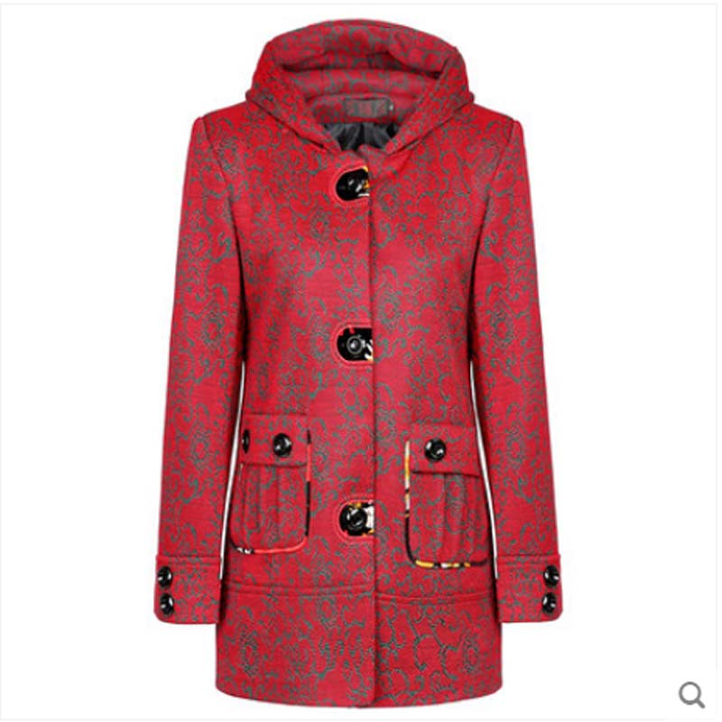 new winter thick woolen coat middle-aged women casual slim hooded single-breasted large pocket print  plus size wool coat  AE838Одежда и ак�е��уары<br><br><br>Aliexpress