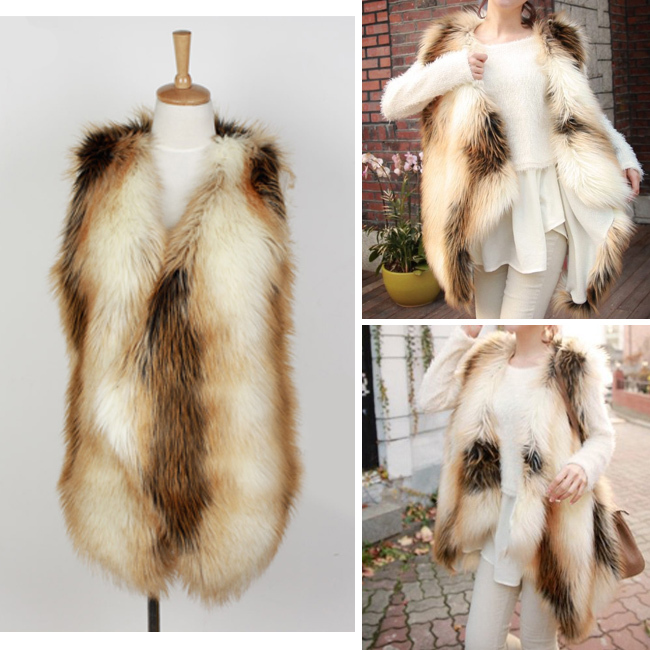 Women's Hairy Shaggy Faux Fox Fur Color Contrast Irregular Mid-Long Vest Gilet Full Waistcoat Outerwear SUPER QUALITY Tops - Sexy Woman Line store