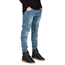 Hot and New Men's Straight Slim Fit Biker Jeans Pant Denim Trousers Free Shipping(China (Mainland))