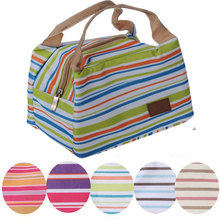 Insulated Neoprene Lunch Bag Canvas Stripe Thermal Bags Kids Baby Tote Lunchbag Picnic Lunchbox Lancheira Termica Bolsa Termica(China (Mainland))