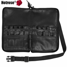 Hotrose 28 Pockets Makeup Brush Apron Bags Artist Belt Strap Holder Women Cosmetic Leather Bag Organizer Black Zipper Case(China (Mainland))