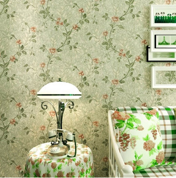 Vintage Country Pastoral Floral Wallpaper Classic Flowers Mural Wall Ppaer Roll Rural Green Yellow Wall Papier Bedroom QZ069