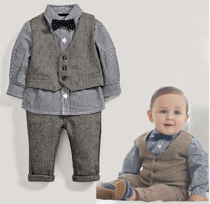 (wholesaler) baby boy clothes baby clothing set with bow and vest baby clothes(China (Mainland))