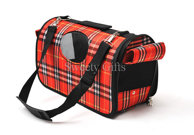 Free Shipping Red Plaid Breathable Folding Zippered Cage Carrier Dog Backpacks(China (Mainland))