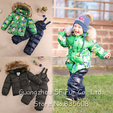 2015 baby girls boys 2 pieces warm padded jacket outwear snow suits children winter clothing sets european style coat pants(China (Mainland))