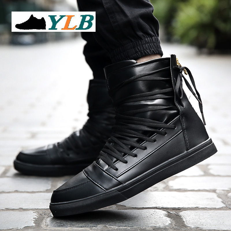 2016 High Top Casual Men Winter Boots Leather Shoes Autumn Breathable Zapatos Hombre Red