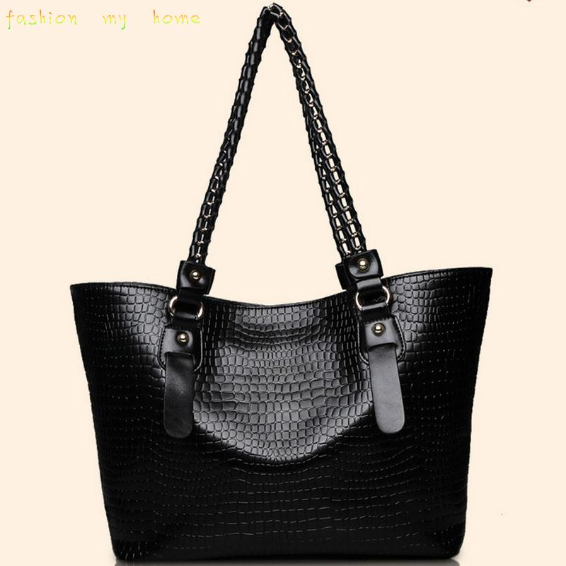 2015 women bag three-piece fashion handbags crocodile pattern women messenger bags buy one get two(China (Mainland))
