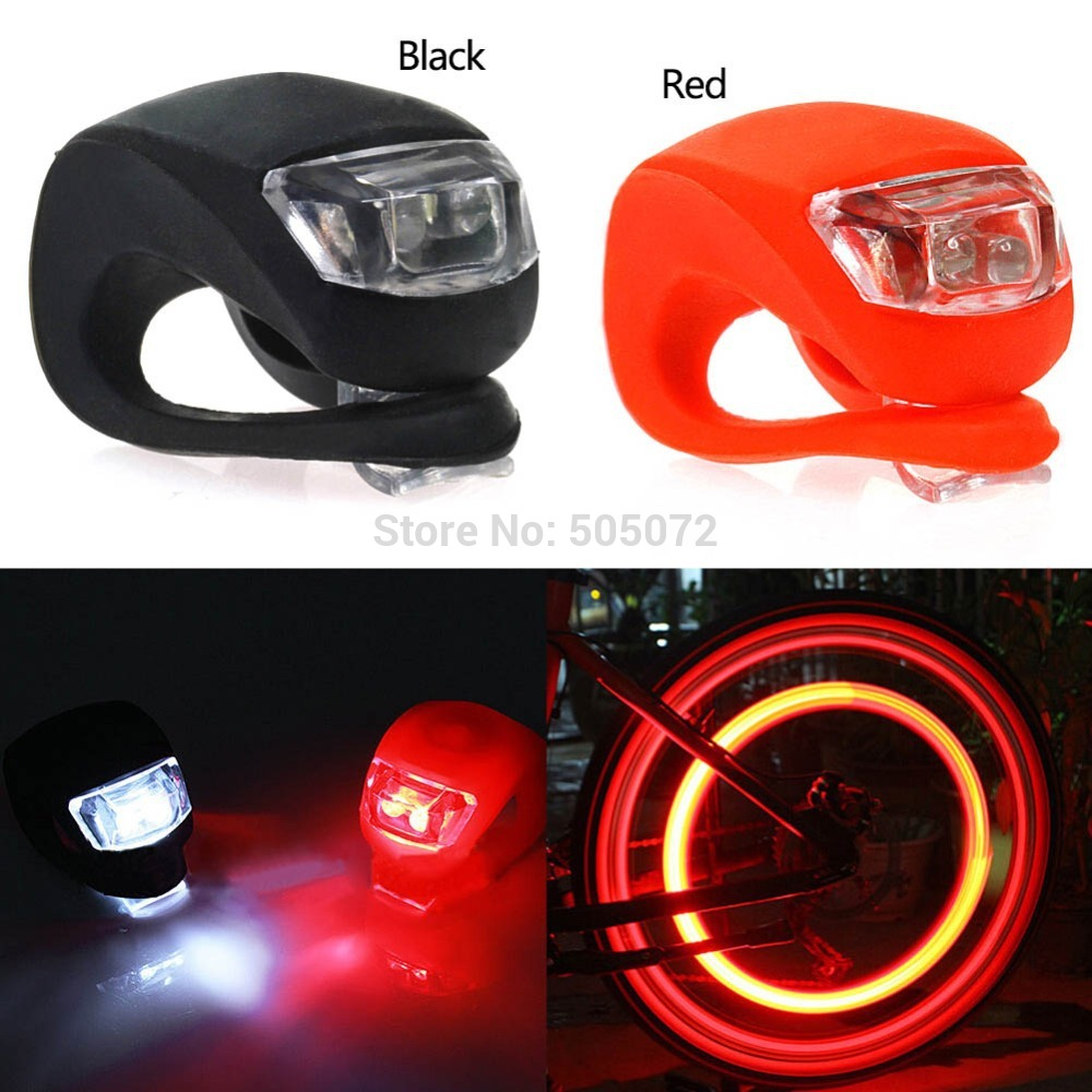 A5 Free Shipping 2pcs/Lot Silicone Bike Bicycle Cycling Head Front Rear Wheel LED Flash Light Lamp L0714 P(China (Mainland))