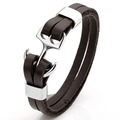 Men Punk Steel Anchor Charm Genuine Leather Layer Bracelet Bangle Cuff Wristband