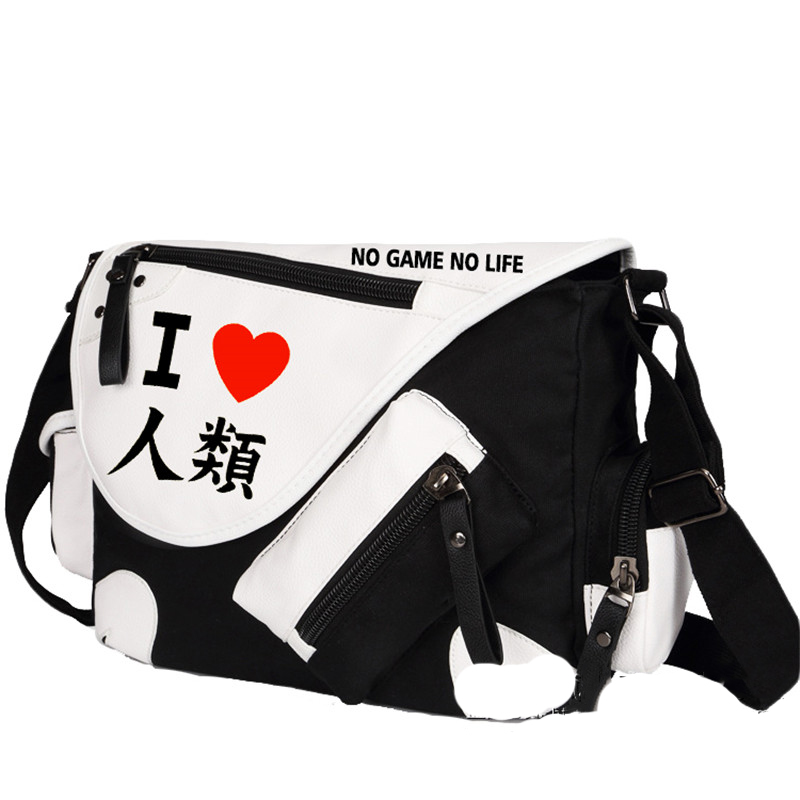 No Game No Life I Love Human Printing Cosplay Shoulder Bag School Students Canvas Messenger Crossbody Bags(China (Mainland))