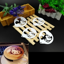 Coffee Barista Stencils Template 3 Style Cartoon Foam Coffee Tools 8CM