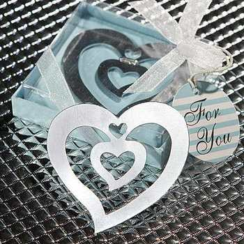 Delicate (50pcs)  Stainless Steel Heart in Heart  Bookmark  for Wedding Gifts and Wedding Favors
