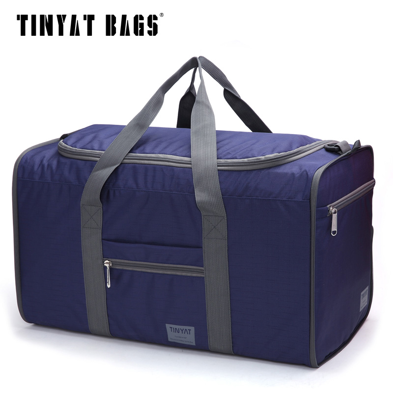 TINYAT Men Portable Bag Waterproof Nylon Pack Folding Bag Easy Carrying High Capacity Handbags Large Bag blue T306(China (Mainland))