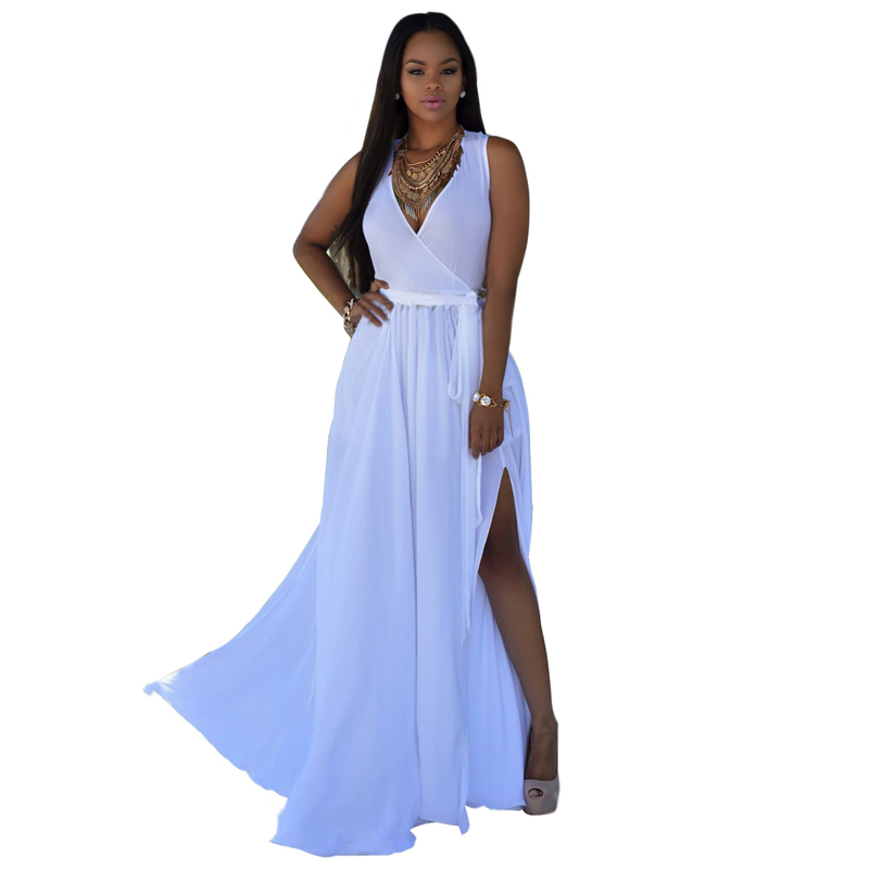 Sexy Dresses Party Robe Bohemian Chiffon Casual 2016 Women Long White Summer Dress Maxi Dress Women Beach L001-AE30(China (Mainland))