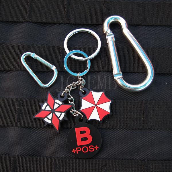 black background color design Resident Evil Umbrella Corporation Blood Type B POS Keychain ring 3D PVC patchess Badges PB363(China (Mainland))