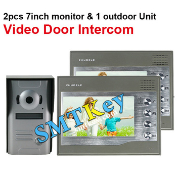 2in1 Video Door Bell Doorphone Intercom System 2pcs 7Color LCD IR Camera