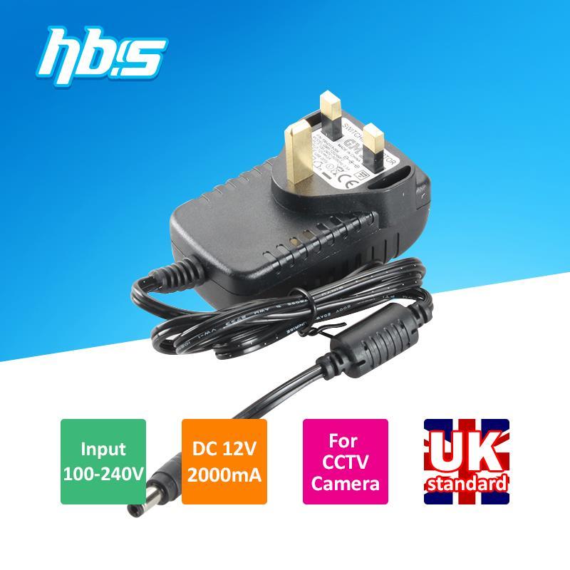 UK standard 100-240V input DC12V 2000mA output 5.5mm DC jack CCTV Power Adapter Plug(China (Mainland))