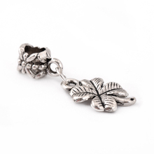 Free Shipping silver Plated Bead Charm Four Leaf Clover Flower beads Fit Women pandora Bracelet & Bangle DIY Jewelry B44