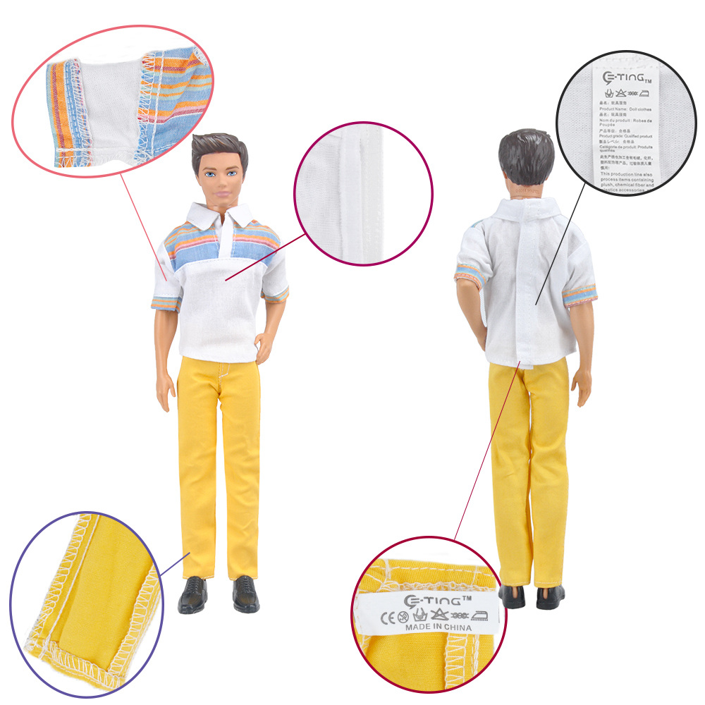 E-TING Informal Put on Shirt Shirt Pants Trousers Garments Set For Barbie Ken Doll