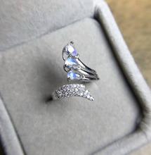 Естественный голубой лунный камень Кольцо Природный камень Регулируемые Кольца стерлингового серебра 925 модный элегантный крыло Ангела женская партия Ювелирных Изделий(China (Mainland))