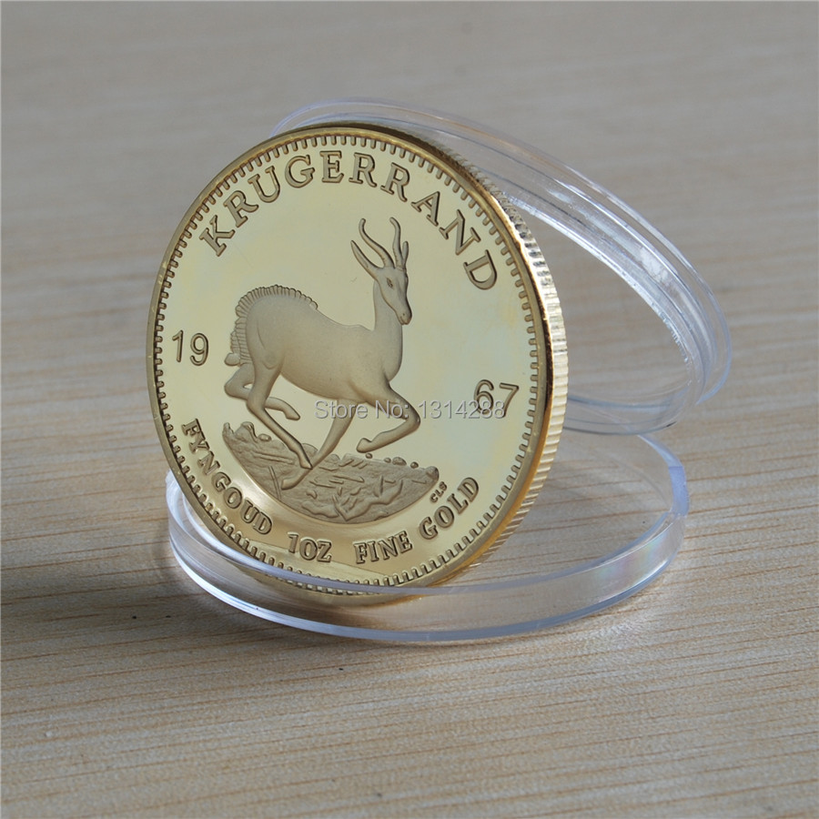 New Free Shipping wholesale 5Pcs/Lot 24K Gold Plated,No Copy 1 Ounce Fine Gold Clad Year 1967 South Africa Krugerrand gold Coin(China (Mainland))