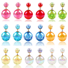 New Design Fashion Bright Colorful Shiny gem Double Beads Stud Earrings Charm Ball Channel earring jewelry for women 2014 M11