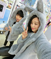 2016autumn winter new mother and child installed solid color three dimensional rabbit ears tail plush hood