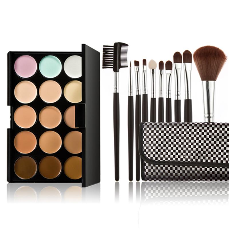 Professional 15 Color Contour Palette Face Cream Make Concealer Contouring Makeup Palettes+10*Cosmetic Brush - Black scorpions store