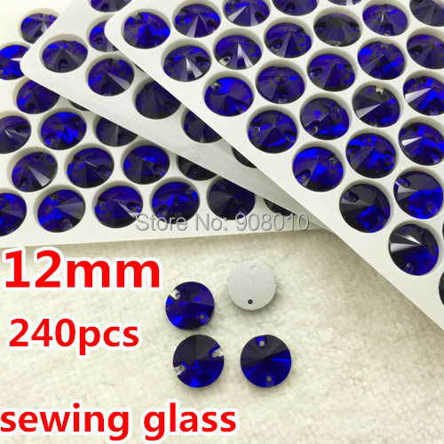 240pcs/box 12mm Cobalt Dark Blue Color Round Rivoli Sew on Glass Crystal Rhinestones Flatback 2 holes Crystal Button Silver Base(China (Mainland))