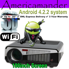 FreeGift 100inch Screen+4500Lux 1080P Android WiFi Smart Led 3D Home theater TV Projector Projektor Full HD Portable Video