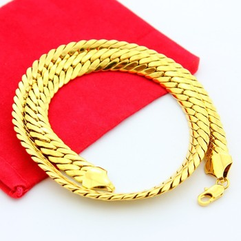 11mm width, Men's  rough gold necklace chain 18k gold-plated necklaces men jewelry Christmas gift Colar Banhado A Ouro