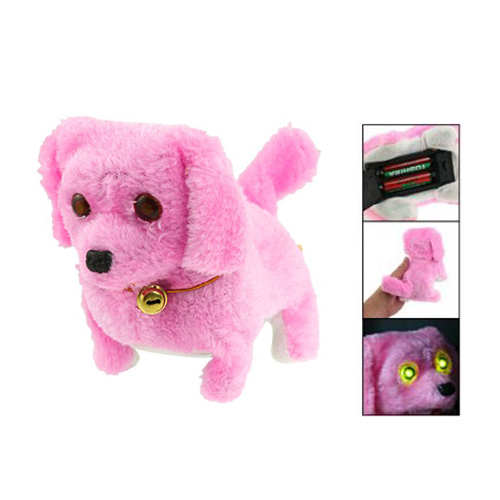 hot sale !Cute Pink Plush Neck Bell Walking Barking Electronic Dog Kids Child Toy Gift(China (Mainland))