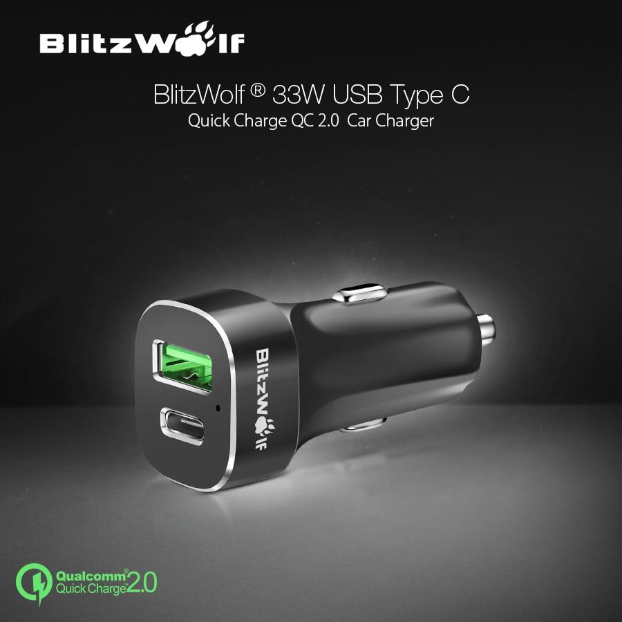 BlitzWolf компании Qualcomm сертифицированных 33w с быстрой 2.0 30W на порт типа с микро-USB Автомобильное зарядное устройство Автомобильное зарядное устройство для Nexus 5 раз 6р кажется 2 Н1