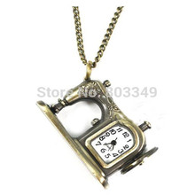 New style Sewing Machine Antique Bronze Pocket Watch for Men Women Necklace Chain with 80cm Quartz Watch Steampunk Free Shipping(China (Mainland))