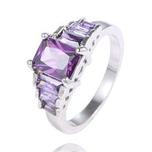 Free Shipping LOW PRICE 1pc 925 starling silver AAA Square Purple Cubic Zirconia party finger rings TC513/TA504/TG344(China (Mainland))