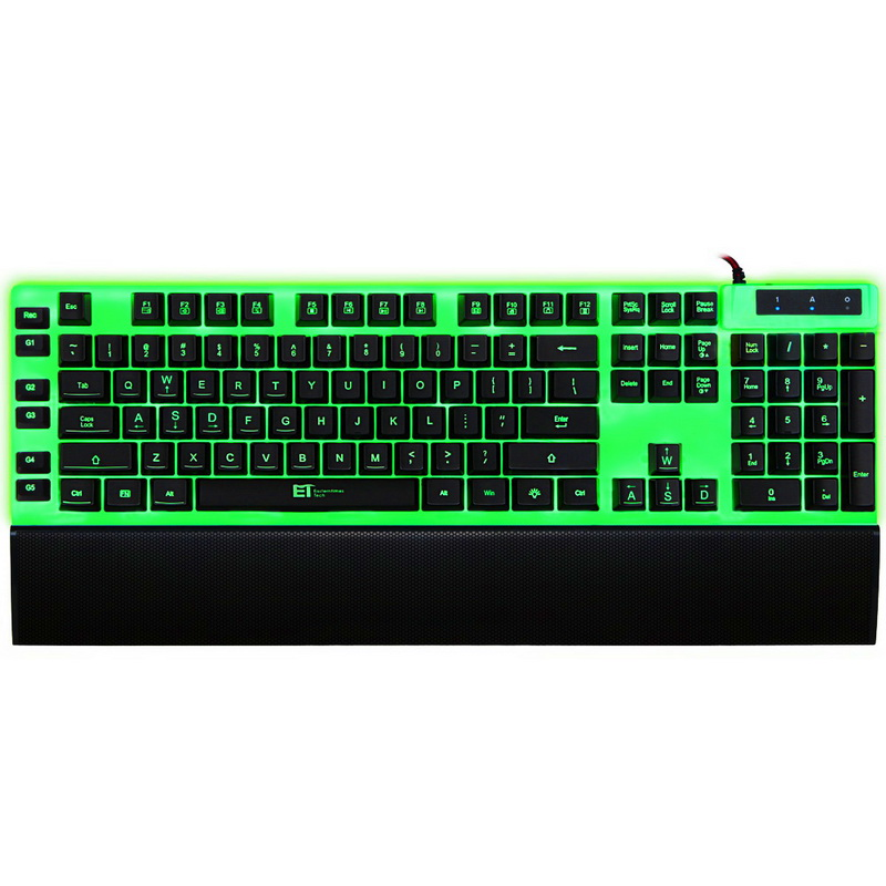 ET I-1000 Wired Gaming Keyboard Dual Backlit Mechanical Feel Keyboard RGB 7 Color Light with Removable Wrist Support(China (Mainland))