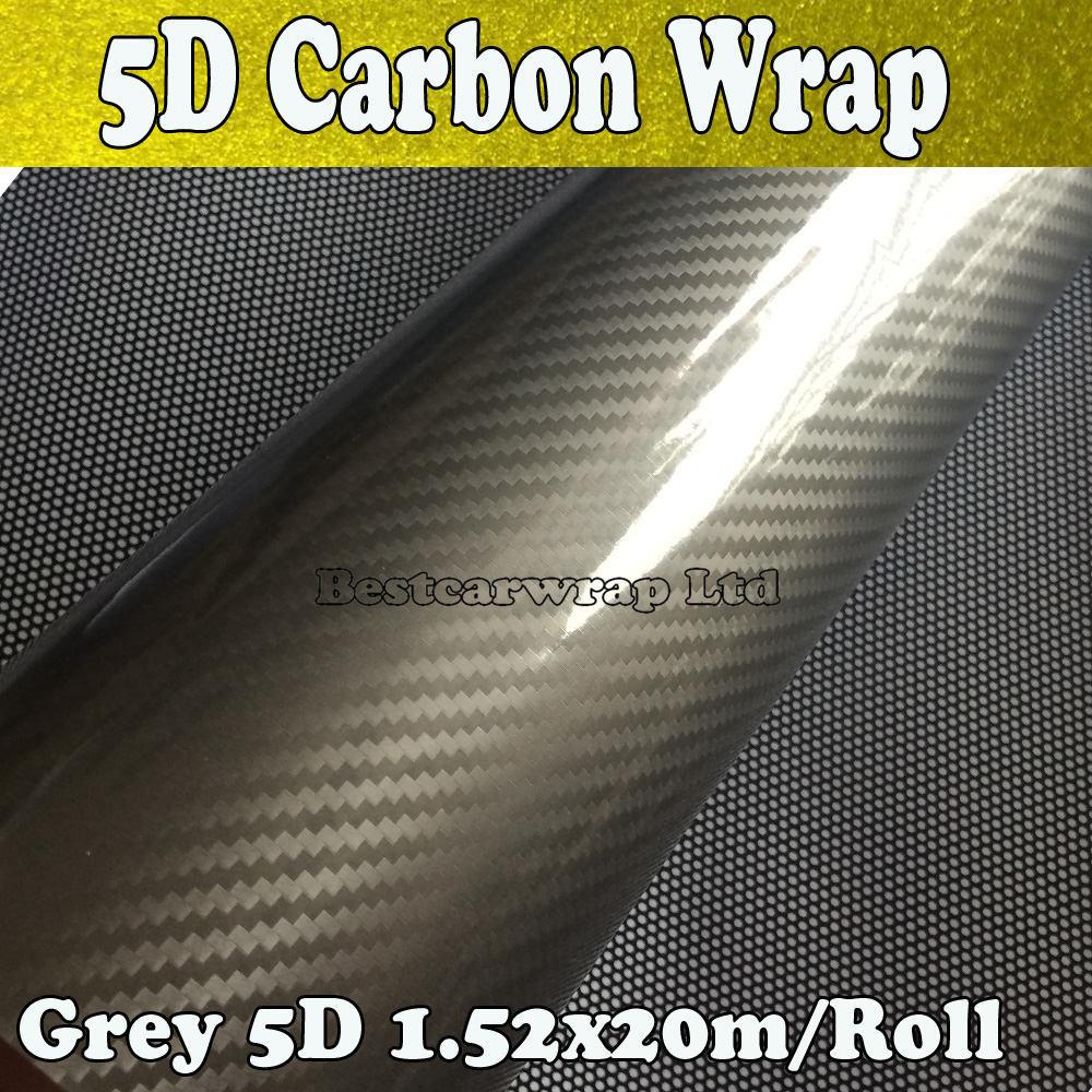 Grey Gloss 5d Carbon Fibre Vinyl Wrap With Air Release Car