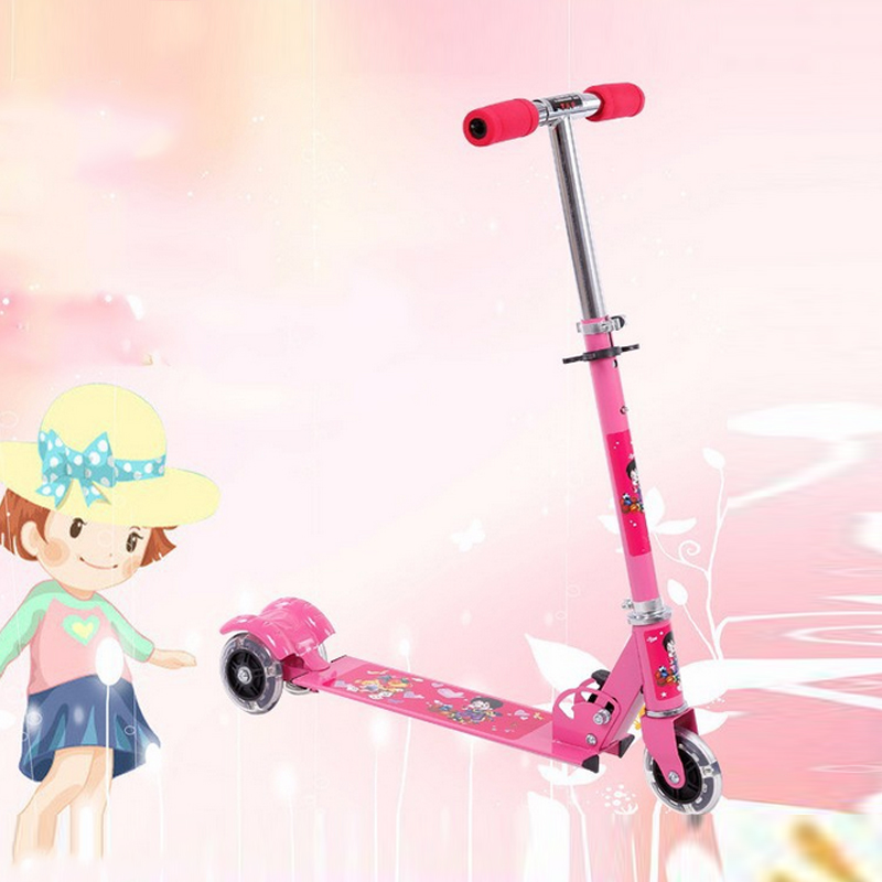 1x Foldable Flashing light 3 Wheel Foot Kick Pedal Bike Scooter for Children Baby Kid PVC wheels Balance Scooter free shipping