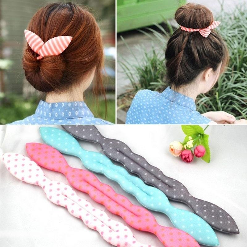 2Pcs Cute Print Dot Stripe Girls Metal Wire Bow Hair Accessories Bunny Ear Elastic Headband Women Headwear Ropes(China (Mainland))