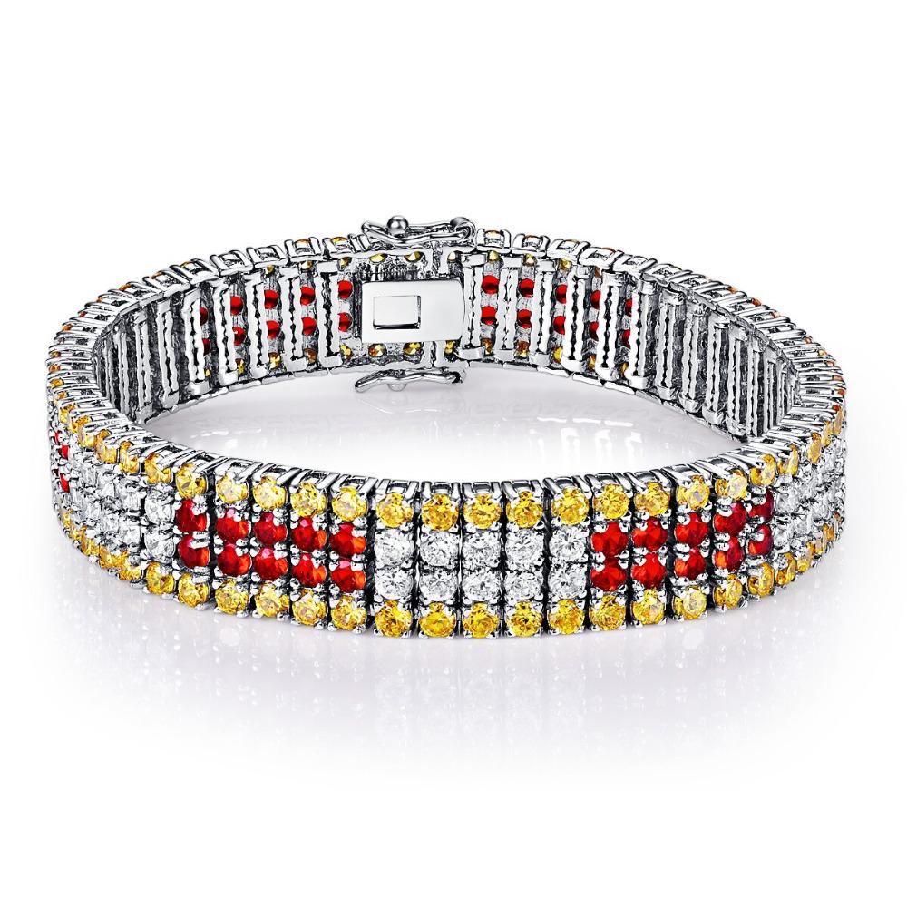 CQueen Jewelry Wedding Party Gift Bracelets Citrine Garnet White CZ Diamond 18K Gold Plated Fashion Bracelet for Women Wholesale