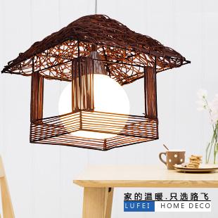 Rattan pendant light rustic lamps rattan lamp single cage lights small house lamp(China (Mainland))