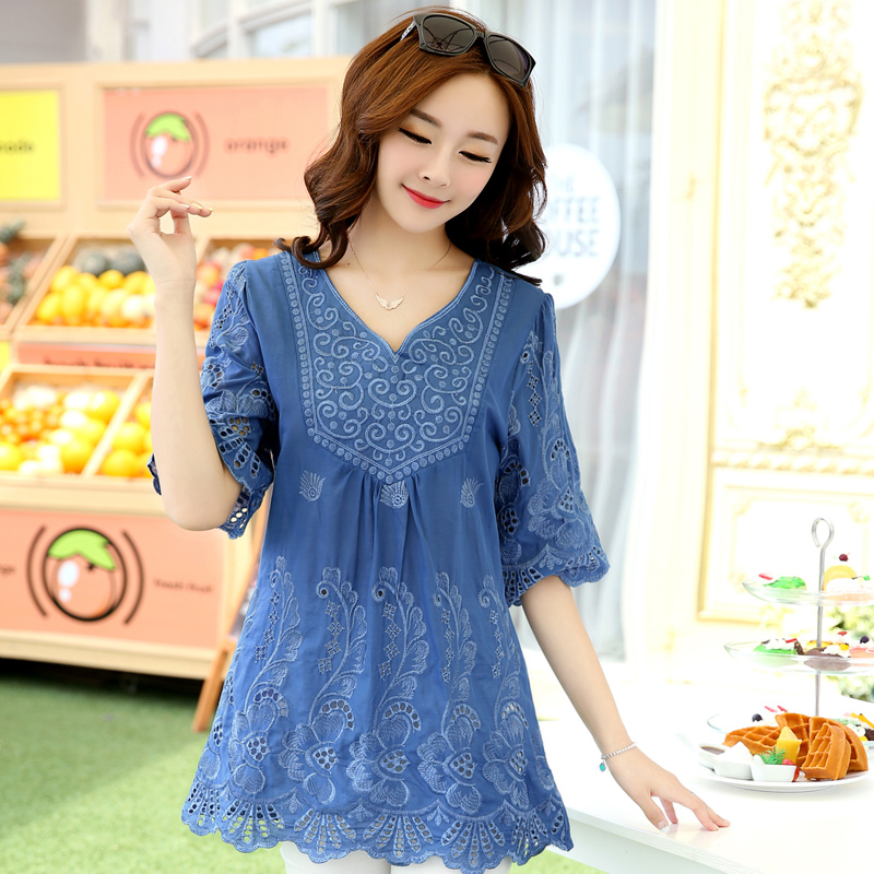 Plus size clothing 2015 one-piece dress loose women's mm top 100% cotton cute shirt embroidery(China (Mainland))