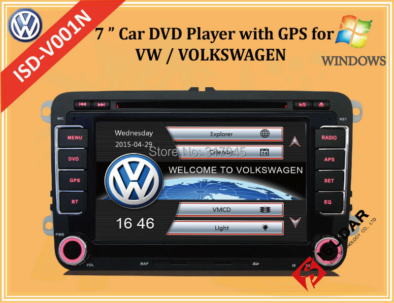 Two Din 7 Inch Car DVD Player For VW/Volkswagen/POLO/PASSAT/Golf/Skoda/Octavia With Wifi 3G Host Radio GPS Bt 1080P Ipod RDS Map