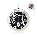 Chain as gift 30mm silver locket diffuser 316l magnetic perfume lockets aromatherapy pendant jewelry with crystals