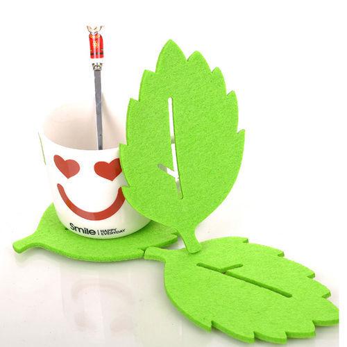 3 PCS Leaf Style Felt Coaster Glass Cup Mat Pad for Mug Bowl HY24493(China (Mainland))