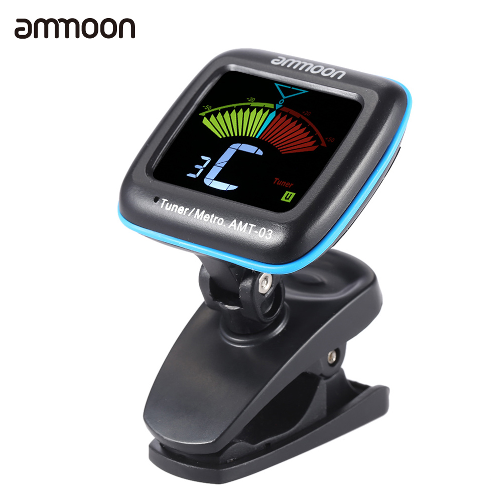 ammoon AMT-03 2 in 1 Digital Tuner Metronome Clip-on Mic Tuning LCD Color Screen for Chromatic Guitar Bass Ukulele Violin(China (Mainland))