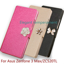 High Quality Luxury Leather Flip silicone back Cover Case for Asus Zenfone 3 Max ZC520TL mobile phone case With Stand(China (Mainland))