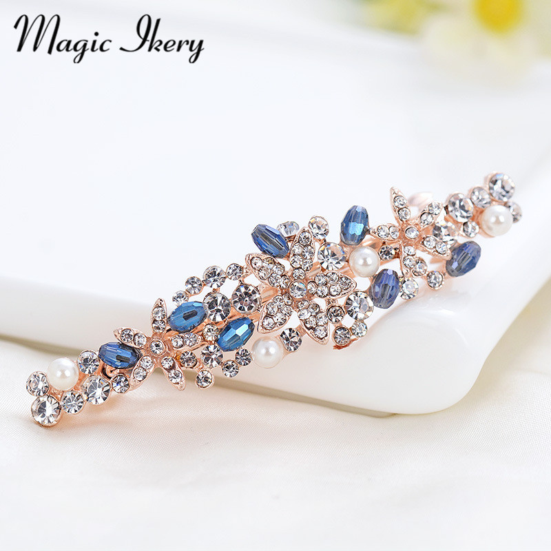 New 2016 18K Gold Plated Rhinestone Crystal tiara Trendy flower Hair pins Jewelry Wholesales Fashion Jewelry for women MKCH117(China (Mainland))