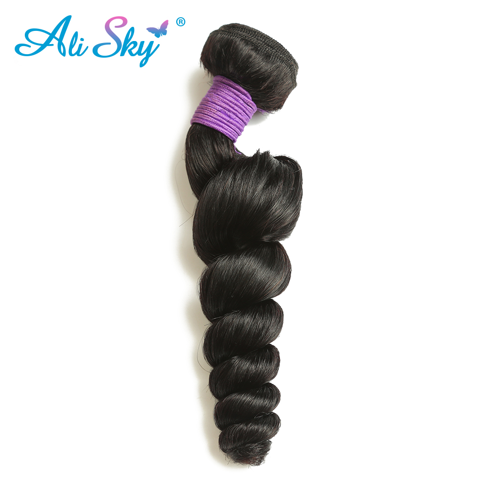 Ali Sky hair Brazilian Remy Loose wave Hair 100% Human Hair Weave Weaving 1 Piece Natural Black 8-26Inch Free Shipping