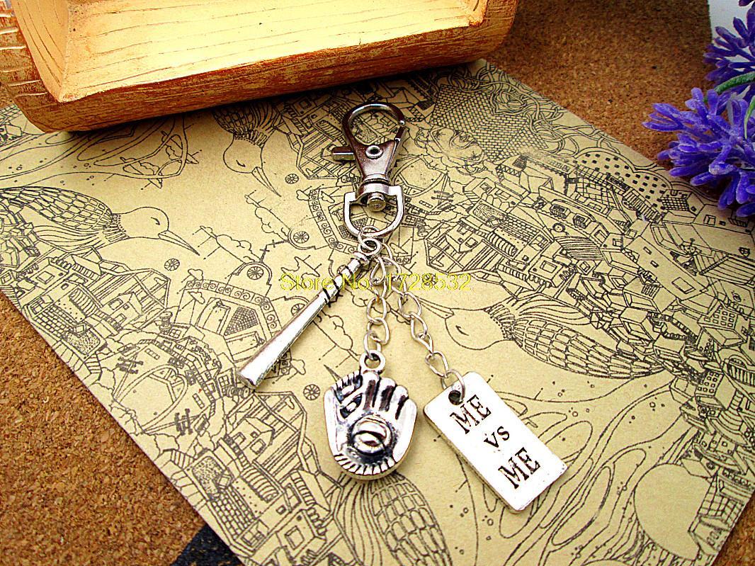 High quality Key chain baseball keychain silver plated 3D bat,Baseball glove,me vs me sports keychain(China (Mainland))